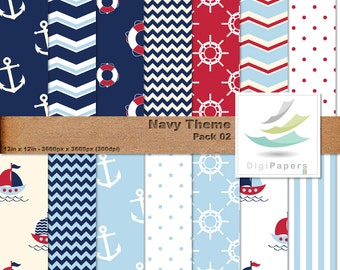 Navy Theme - Scrapbooking Digital paper Pack for personal and commercial use - Suitable for scrapbooking. Sail Boats, buoys and anchors.