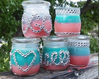 Beautiful Red & Turquoise Wedding Theme, Tropical Passion Inspired, Waxless Candle