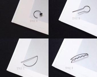 Boucle d'oreille, Bijoux d'oreille, Bijoux minimaliste, Géometrique, noire, grimpeur