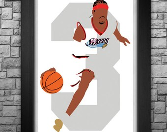 ALLEN IVERSON minimalism style limited edition art print. Choose from 3 sizes!