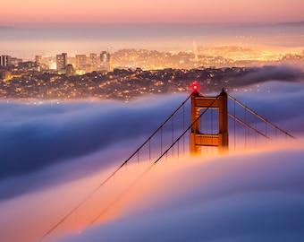 Golden Gate San Francisco colorful sunrise photo print / metal print