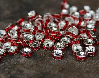 6mm x 3mm  Red Rhinestone Spacers, Rhinestone Spacer Beads, Red Rhinsteone Spacer Beads, Red Rhinestone Beads, Red Rhinestones, #RS1