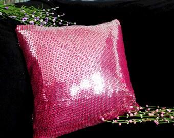 Fuchsia Silver Sequin Pillow cover/free shipping
