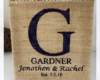 Initial with Wedding Date on Burlap