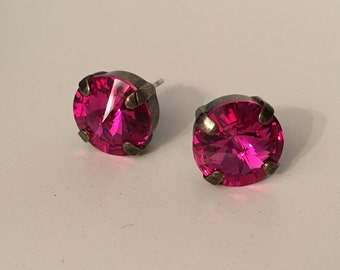 Fuchsia Swarovski Crystal Earrings