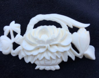 Old Antique Vintage Hand Carved Bone Flower Brooch with Glass Box