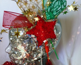 Holiday Christmas beaded star fascinator headband