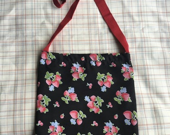 Girls small bag black strawberry material
