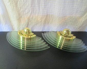 2-Atomic Space Age Mid Century Modern Striated Glass Sconces-Sputnik-Retro-Brass-Theater Lighting-Minimalist  Style-RARE-1 Pair