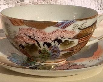 Gorgeous Moriage Lithopane Teacup and Saucer Japan