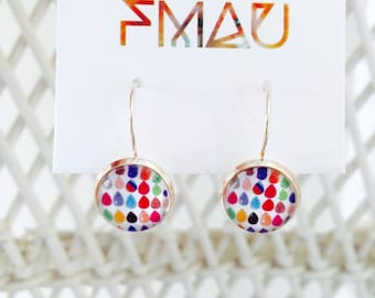 Handmade rain drop earrings silver and rose gold plated 12mm