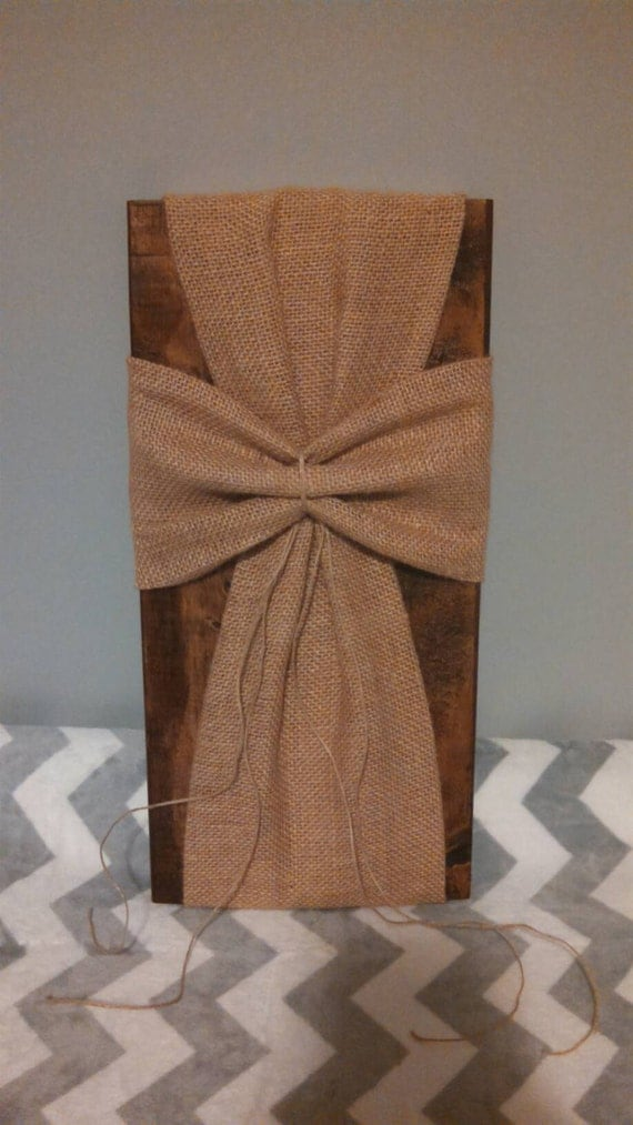 Burlap fabric wrapped wooden cross religious wall hanging for Decorative burlap fabric