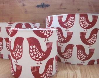 Handmade Lampshade Scandi Birds Red