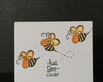 Handmade Greeting Cards-BEES Be Buzz (Set of 5 Cards) Notecards