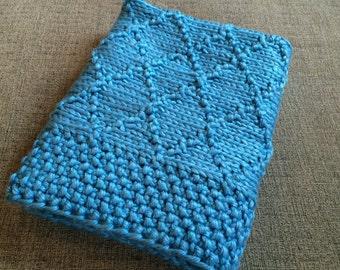 Baby blue handmade kniited blanket