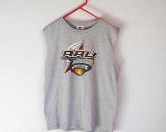 VINTAGE Disney Sports USA AAU Amateur Athletic Union Grey Sleeveless T-Shirt - Size M