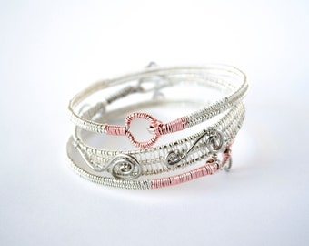 Set of 3 - Handmade Bangles - Silver & Rose Gold