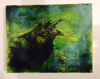 Encaustic painting with vintage Crow transfer