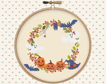 Halloween cross stitch pattern pdf - instant download - wreath cross stitch - autumn, fall, nature, leaves, bat, pumpkins, ghosts