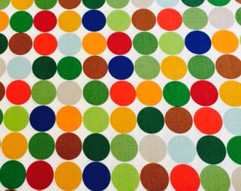 100% cotton Multi coloured Pokka Dot fabric 112cm wide.