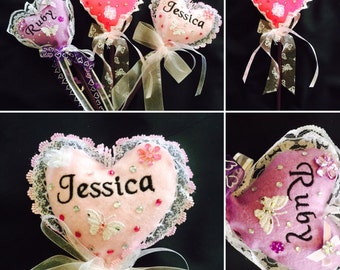 Personalised heart pencil toppers. Stocking filler, christmas gift for for her,