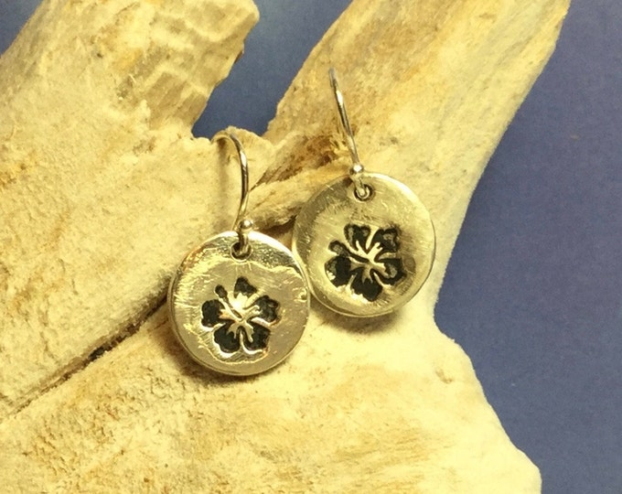 Sterling and Fine Silver Antiqued Hibiscus Floral Disk Earrings