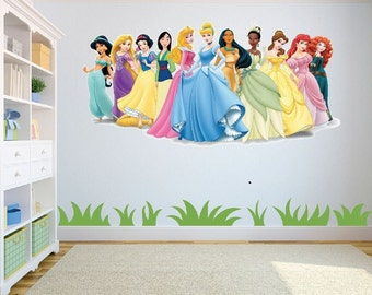 Disney Princesses Wall Art/Decal Sticker Kids Room w98cm x h48cm