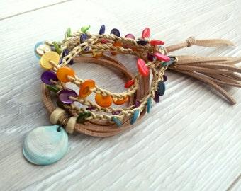 Rainbow wrap bracelet Multicolor bracelet Colorful bracelet Crochet bohemian bracelet boho wrap bracelet summer beach knitted bracelet
