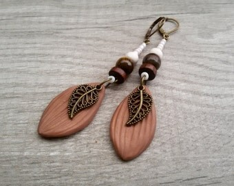 Tiger's eye earrings Rustic Leaves earrings Bohemian gemstone earrings Boho dangle earrings Vintage Leaves jewelry
