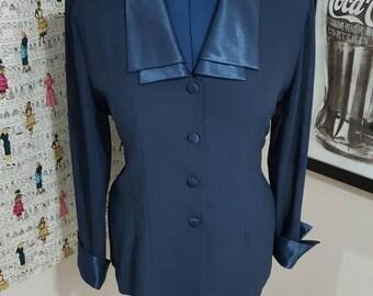 SALE: Vintage Navy Blue Blouse Size L