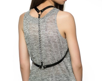 Simple leather harness with a back chain Over the shoulder harness Chain back harness Body chain harness