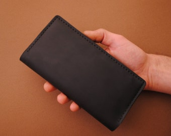 Trifold wallet, trifold leather wallet, trifold mens wallet, trofold womens wallet, black leather wallet, mens wallet black, womens wallet