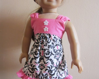 American Girl Doll Clothes - Pink and Black Summer Tea Dress