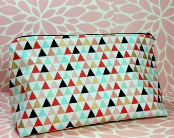 XL Triangle Makeup Bag, Large Makeup Bag, Triangle Makeup Bag, Travel Bag