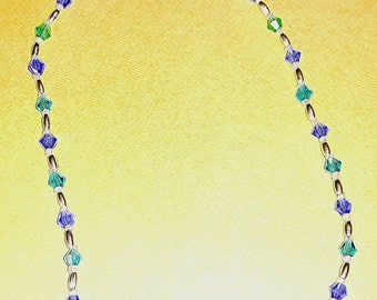 Crystal blue hand beaded necklace