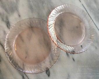Vintage Arcoroc France Pink Swirl Rosaline dessert salad bread plates