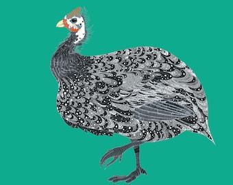 """Tentative Guinea Fowl - 14 x 11"""" quality print of my original artwork"""