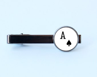 Ace card tie clip Ace tie clip Playing card jewelry Poker jewelry Ace of Spades Card gift Poker tie clip Mens jewelry Men tie bar Gift idea