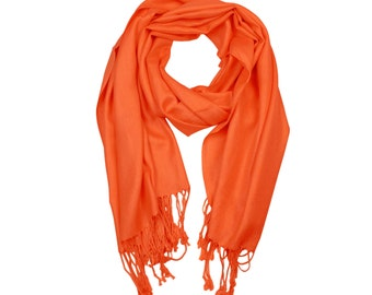 Orange Color Supersoft plain Pashmina Shawl - the perfect bridesmaid gift or wedding favor
