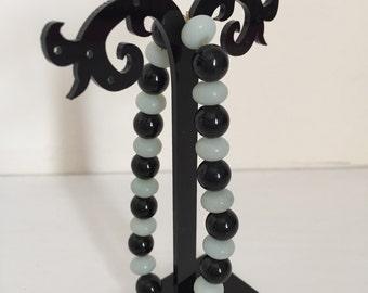 Amazonite and Black Agate Stretchy Bracelet