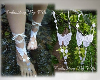 Barefoot sandals lace butterfly-FSL-4x4 hoop