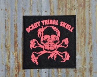 Pink Scary Tribal Skull Crossbones Iron On Sew On Patch Transfer
