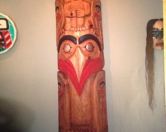 Eagle with Ravens Transformed, 8 ft. Totem pole
