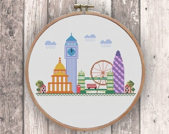 London - modern cross stitch pattern PDF Instant download