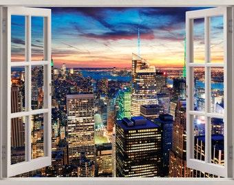 3D Window New York City Wall Sticker