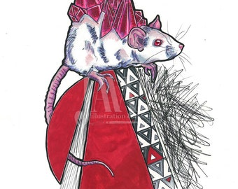 Crystal Mouse - Fine Art Print - 11x14 Matte - Abstract Albino Rat Red