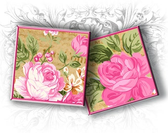 Pink Roses 1 Inch Squares Digital Collage Sheet Download and Print - Printable Square Images - Collage Sheets Roses - Pink Roses Images