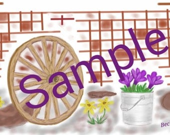 Wagon wheel and Spring Flowers