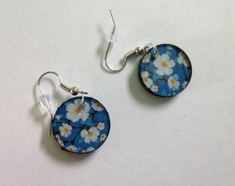 Blue Flowered Earrings