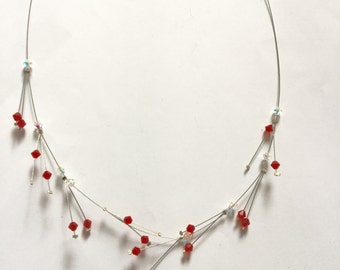 Unusual Spikey Necklace of Swarovski Crystal and Sterling Silver